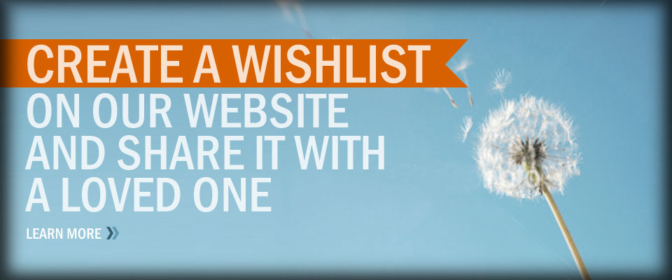 Wishlist - Create a wishlist on our website and share it with a loved one / Learn More